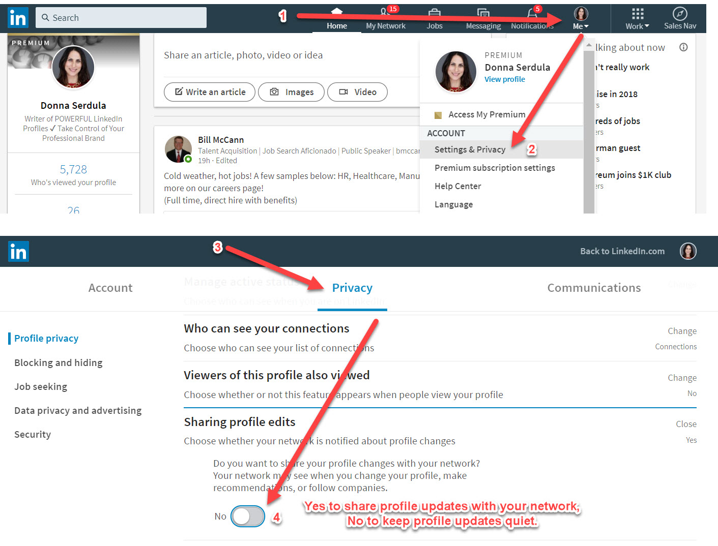 How to Keep Your LinkedIn Profile Edits a Secret From Your Network