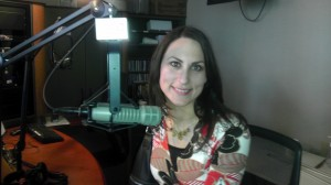 Donna Serdula, LinkedIn Aficionado, in front of the radio microphone on Sirius XM Radio show
