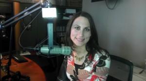 Donna Serdula, LinkedIn Aficionado, in front of the radio microphone on Sirius XM Radio show