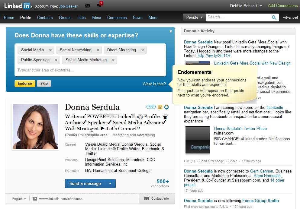LinkedIn Endorsements of Skills & Expertise