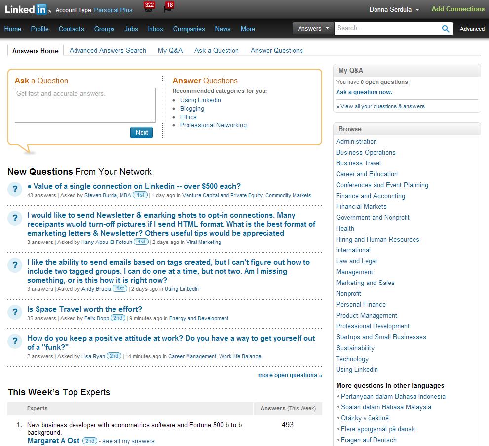 linkedin answers page  u00bb linkedin makeover  linkedin
