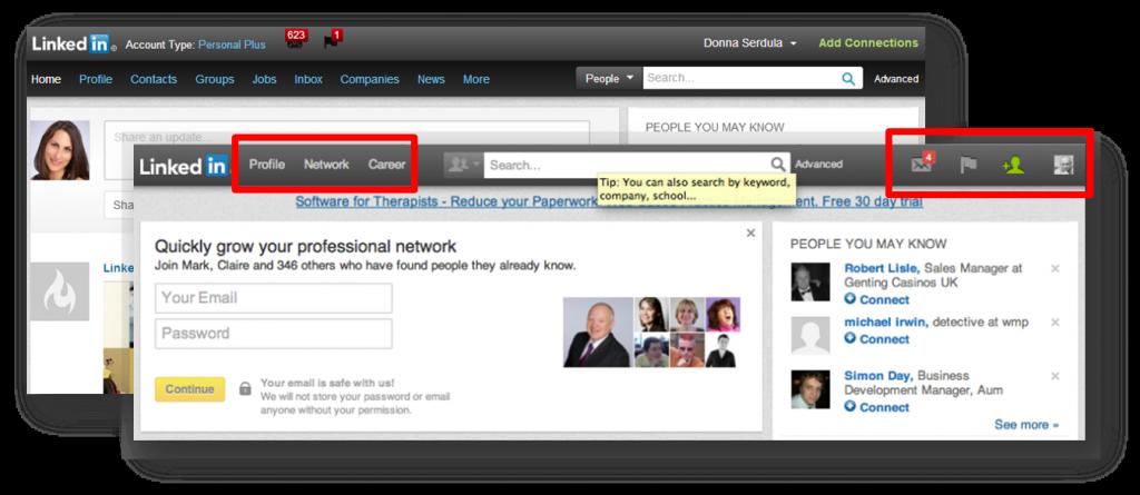 New Redesigned LinkedIn Navigation Bar