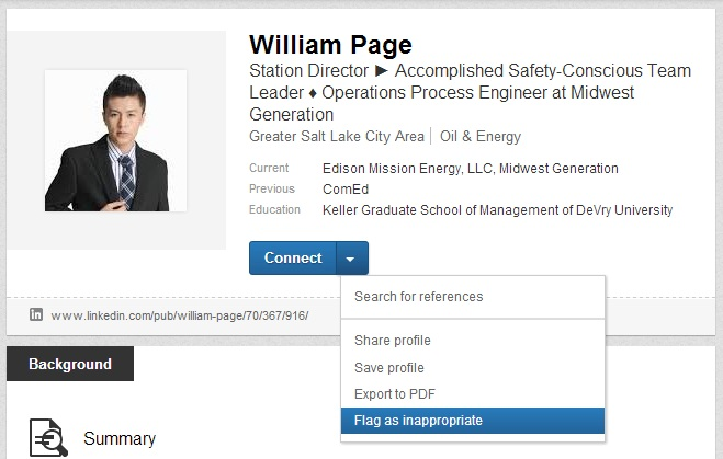 Reporting a Plagiarized LinkedIn Profile