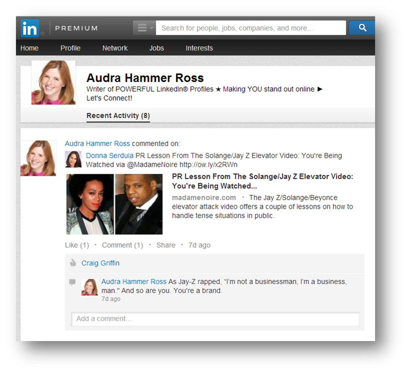 Listing of LinkedIn Activity feed history