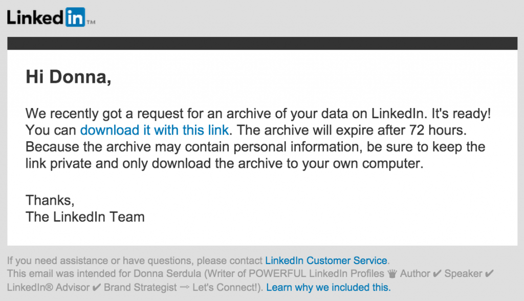 LinkedIn Archive Email