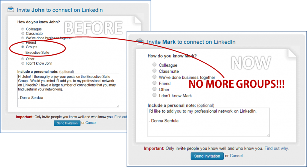 I gasped when i saw linkedins new invitation to connect linkedin groups removed connection request stopboris Image collections