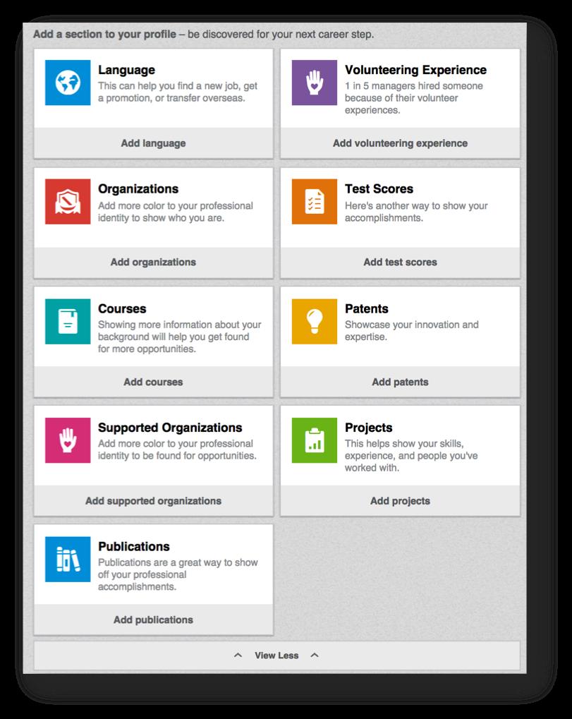 LinkedIn Add Sections