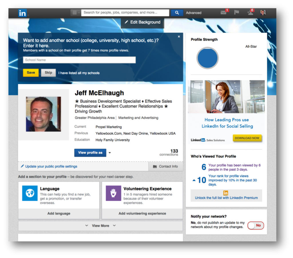 New LinkedIn Profile