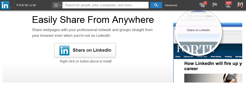 LinkedIn Bookmarklet: Share from Anywhere