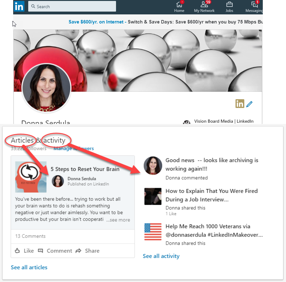 Your LinkedIn activity is visible on your LinkedIn profile