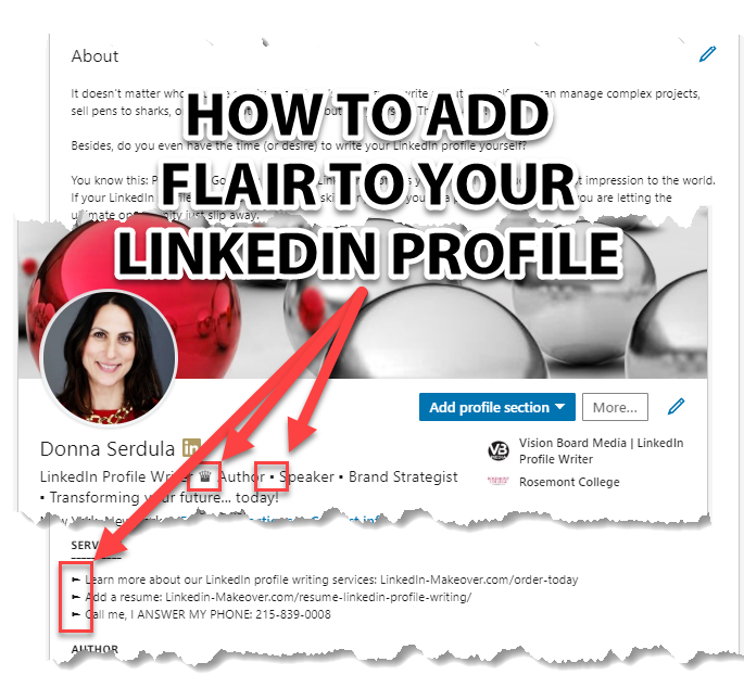 Bullets on your LinkedIn Profile