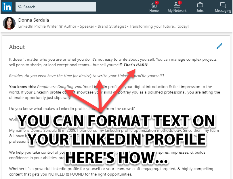 Format Text LinkedIn Profile