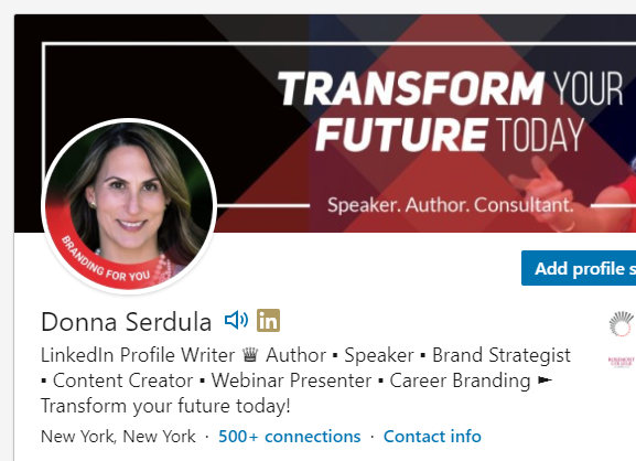 LinkedIn profile with a photo frame
