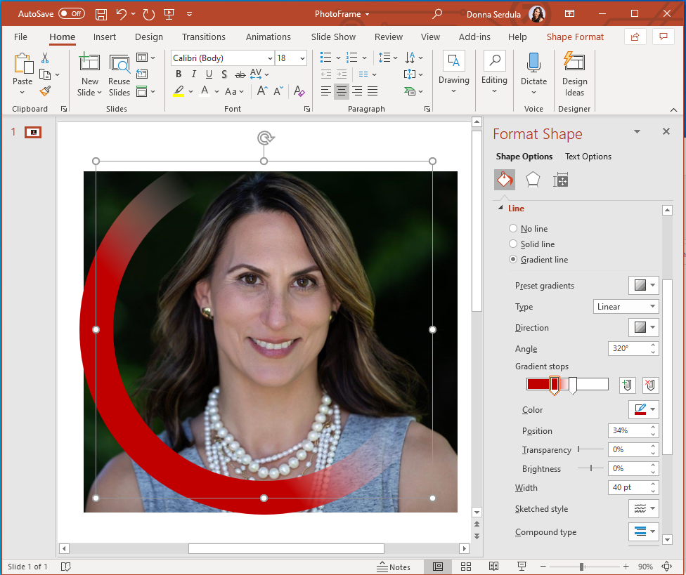 Creating a Photo Frame for your LinkedIn Profile Picture in PowerPoint
