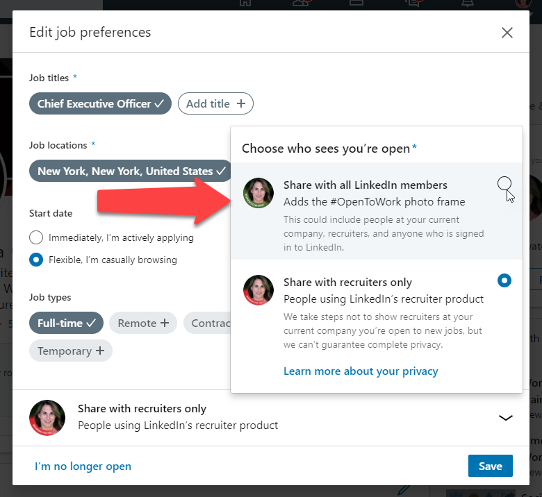 How to turn on the #Opentowork photo frame on your LinkedIn profile photo