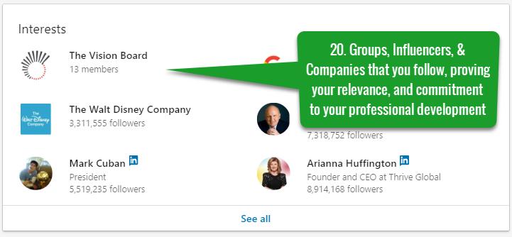 Best LinkedIn Profile Interests