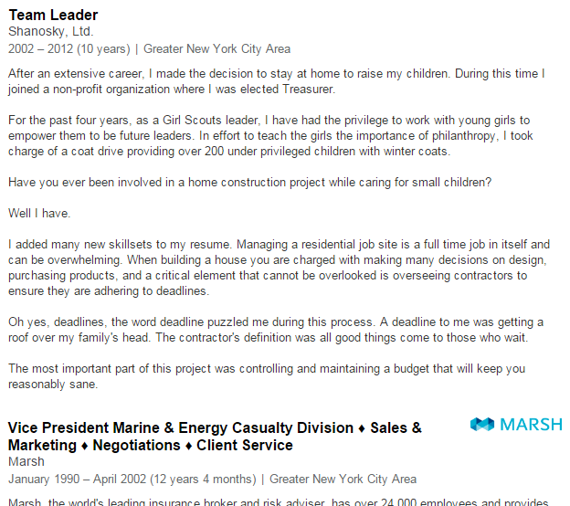 Employment Gap Explanation LinkedIn Profile