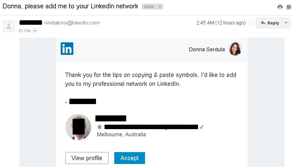 LinkedIn's Invitation to Connect Notification email