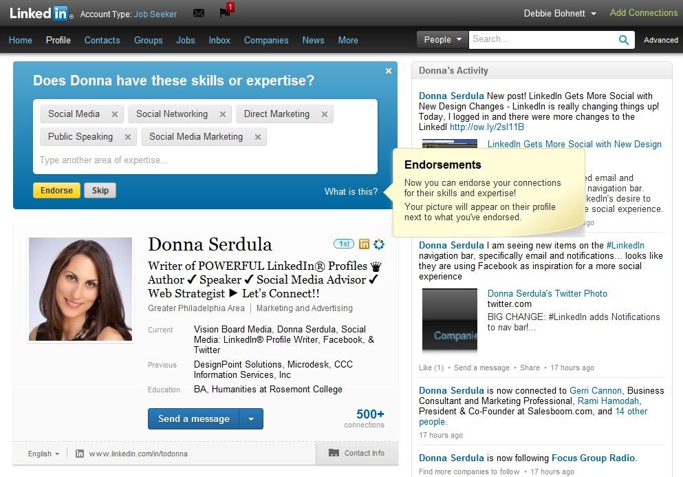 LinkedIn Endorsements of Skills & Expertise