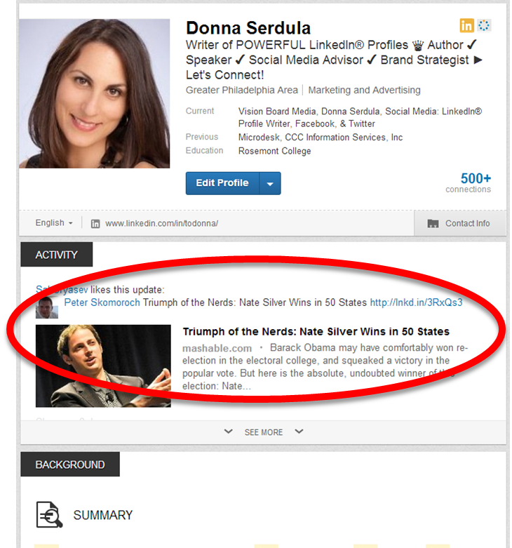 LinkedIn Profile Activity Feed