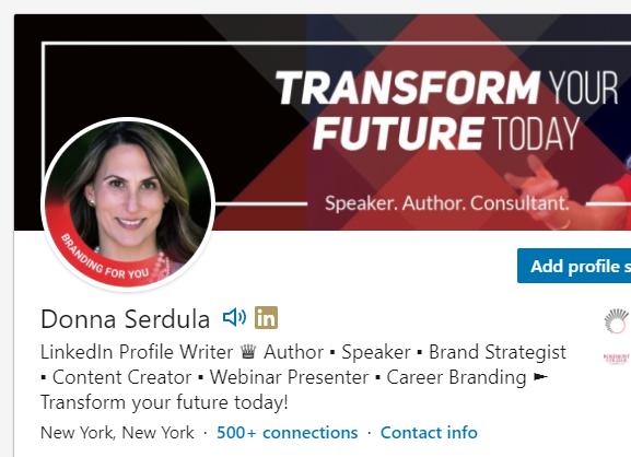 LinkedIn profile with a photo frame