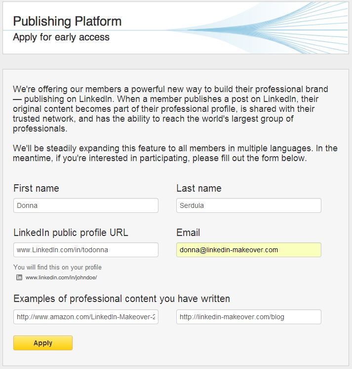 LinkedIn Publishing Platform Wait list