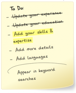 LinkedIn states that by adding Skills & Expertise you will appear in keyword searches