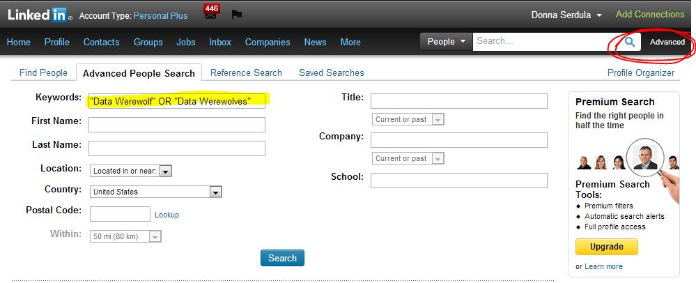 LinkedIn Advanced Search for Data Werewolf