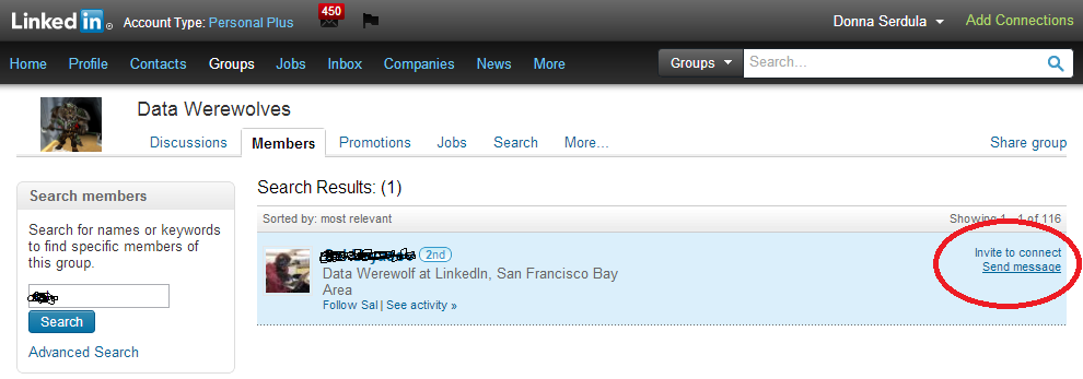 Messaging a Data Werewolf via the Groups area of LinkedIn