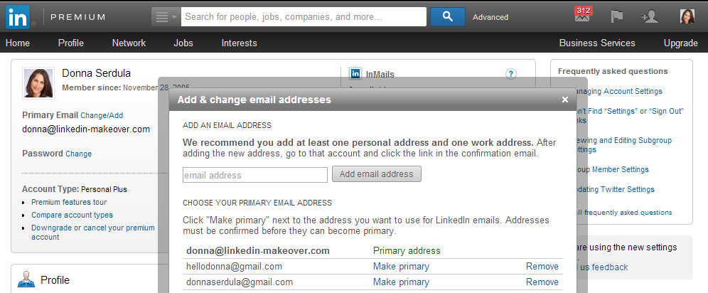 Setting your Primary LinkedIn Email Address to Avoid SPAM on LinkedIn
