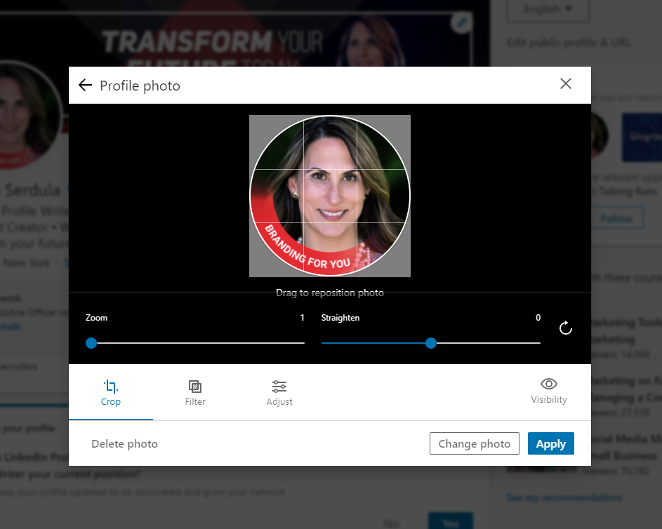 Uploading a profile picture to your LinkedIn profile