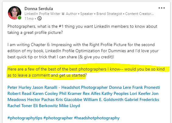 Tag people in your LinkedIn post to get more engagement