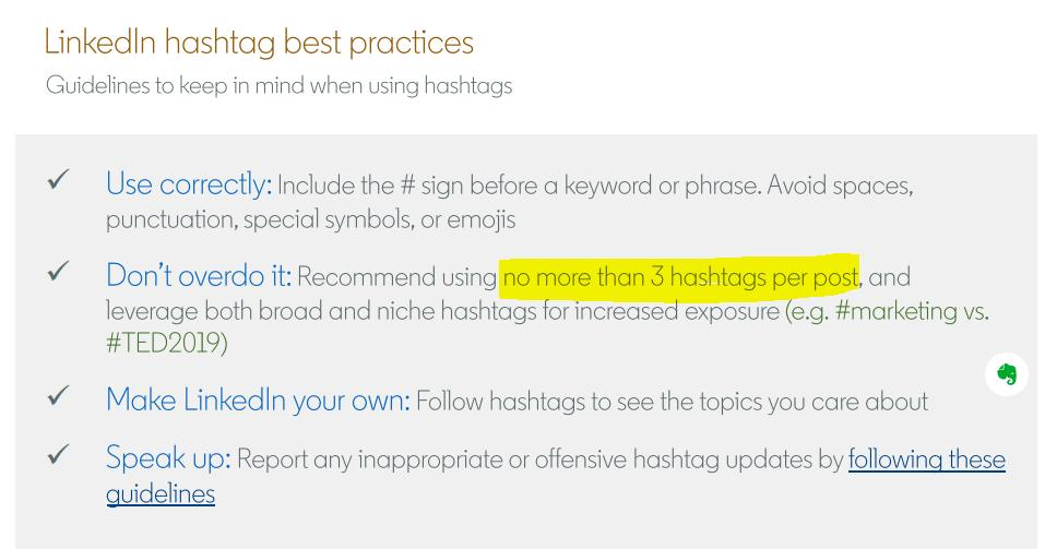 Three hashtags per LinkedIn post is considered ideal