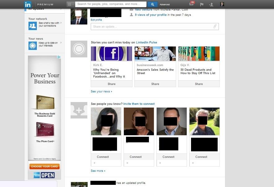 New Look to LinkedIn Newsfeed