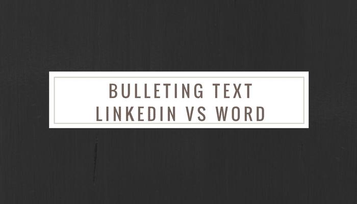 how to bULLET in LinkedIN